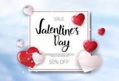 Valentine Day Sale Concept Template-de Bannerconcept van Discouns van de Affichevakantie Royalty-vrije Stock Foto