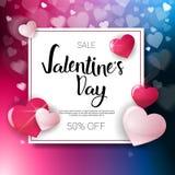 Valentine Day Sale Flyer Template met Concept van Discouns van de Exemplaar het Ruimtevakantie Stock Afbeeldingen