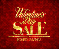 Valentine day sale, lovely savings, banner with golden mosaic text. Royalty Free Stock Images