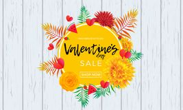 Valentine Day sale poster design template. Vector hearts, yellow flowers and palm leaf or berry pattern on pink background for Val. Entines fashion shopping Stock Image