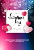 Valentine Day Sale Poster Template met Concept van de Vakantiediscouns van Exemplaar het Ruimtefebrusry Stock Foto