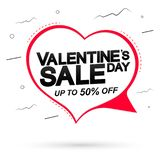 Valentine Day Sale, up to 50% off, speech bubble banner design template, holiday discount tag, vector illustration. Valentine Day Sale, up to 50% off, speech vector illustration