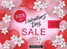 Valentine Day Sale web banner with pink and red hearts and white flowers. Valentine Day Sale web banner with pink and red hearts and white flowers on pink stock illustration