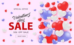 Valentine Day Sale web banner with white red and blue hearts on pink background. Valentine Day Sale web banner with white red and blue 3d heart shapes on pink vector illustration