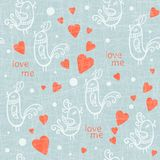 Valentine Day seamless with birds. Vector. Valentine Day seamless pattern with birds. Vector illustration Stock Photos