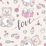 Valentine day seamless pattern with teddy bear, sweets and LOVE hand drawn sign Royalty Free Stock Images