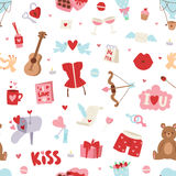 Valentine Day seamless pattern vector illustration. Love doodle 14 february Valentine Day seamless pattern vector illustration. Save the date decoration Royalty Free Stock Photo