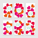 Valentine day set of banners with heart, red. And pink Stock Image