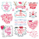 Valentine day set.Frames,swirls,arrows a nd heart. Wedding day,love,romantic decor elements set.Ribbon,swirls and arrows,headline for logo,emblems. Doodle hand Royalty Free Stock Images