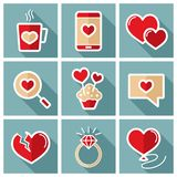 Valentine day set icons. Vector illustration, romance elements. Sticker, badge. Card for marriage and wedding Royalty Free Stock Images