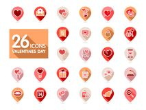 Valentine day set pin map icons Stock Image
