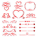 Valentine day set of red arrows, dividers and elements Royalty Free Stock Photos