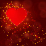 Valentine day shiny card with red heart Royalty Free Stock Photos