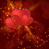 Valentine day shiny card with red hearts Royalty Free Stock Photo