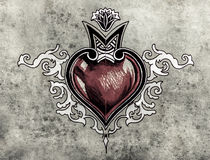 Valentine Day. Sketch of tattoo art, tribal design, heart Royalty Free Stock Images