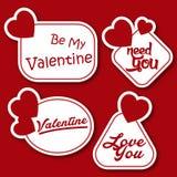 Valentine Day Stickers Pack Vector bild Arkivfoto