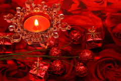 Valentine-day still life. With giftboxes, decoration and tea light Royalty Free Stock Photo