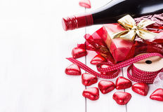 Valentine day still life with chocolates and wine Stock Photography