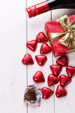 Valentine day still life with chocolates and wine Royalty Free Stock Photo