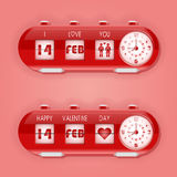 Valentine day with table flap clocks and number counter Royalty Free Stock Image