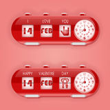 Valentine day with table flap clocks and number counter Stock Photography