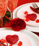 Valentine day table setting Royalty Free Stock Photos