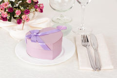 Valentine Day table setting Stock Photo