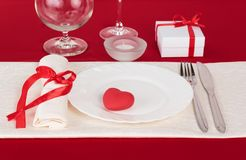 Valentine Day table setting Royalty Free Stock Photo