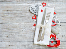 Valentine day table setting Stock Photos