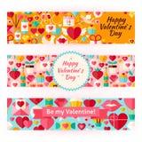 Valentine Day Template Banners Set dans le style plat moderne illustration stock