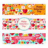 Valentine Day Template Banners Set in Modern Flat Style. Valentine Day Template Banners Set in Modern. Flat Design Vector Illustration of Brand Identity for Love Stock Illustration