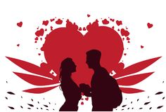 Valentine Day Template Greeting Card, Silhouette Couple Holding Hands Over Heart Shape Background. Flat Vector Illustration Royalty Free Stock Photography