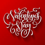 Valentine Day text calligraphy vector greeting card Stock Photography