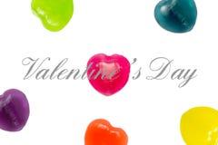 Valentine Day Text con el fondo del caramelo del corazón Imágenes de archivo libres de regalías