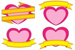 Valentine day themed colorful stickers, hearts and ribbons with place for text. Love holiday vector illustration for gift card, flyer, certificate banner Stock Photo