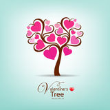 Valentine Day Tree pink heart illustration Royalty Free Stock Photo