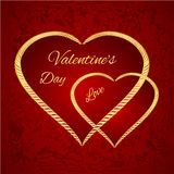 Valentine day two gilded hearts vector. Valentine day two gilded hearts  red background vector illustration Stock Photography