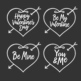 Valentine day typography badges set. All lovers holiday quotes. Vector vintage illustration. Stock Photos