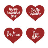 Valentine day typography badges set. All lovers holiday quotes. Vector vintage illustration. Stock Images