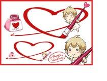 Valentine Day und Amor zeichnen großes Herz mit roter Tinte Lizenzfreies Stockbild
