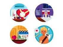 Valentine Day uppsättning av symboler Arkivbild