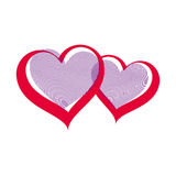 Valentine day vector art illustration, two loving hearts Stock Photos