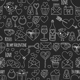 Valentine Day Vector pattern with heart, cake, balloon On blackboard Stock Photography