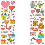Valentine Day Vector pattern with heart, cake, balloon Royalty Free Stock Image