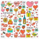 Valentine Day Vector pattern with heart, cake, balloon Royalty Free Stock Photography