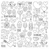 Valentine Day Vector pattern with heart, cake, balloon For invitations, coloring books Stock Photography