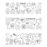 Valentine Day Vector pattern with heart, cake, balloon For invitations, coloring books Stock Photos
