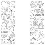 Valentine Day Vector pattern with heart, cake, balloon For invitations, coloring books Stock Images
