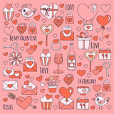 Valentine Day Vector pattern with icons of heart, cake, balloon on pink background Stock Photos