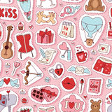 Valentine Day vector pattern. Set of love doodle 14 february Valentine Day icons vector illustration. Save the date decoration typography romantic happy greeting Stock Photo